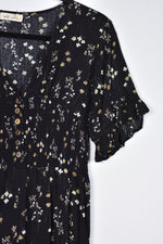 Black Floral Jumpsuit with Smocked Waist
