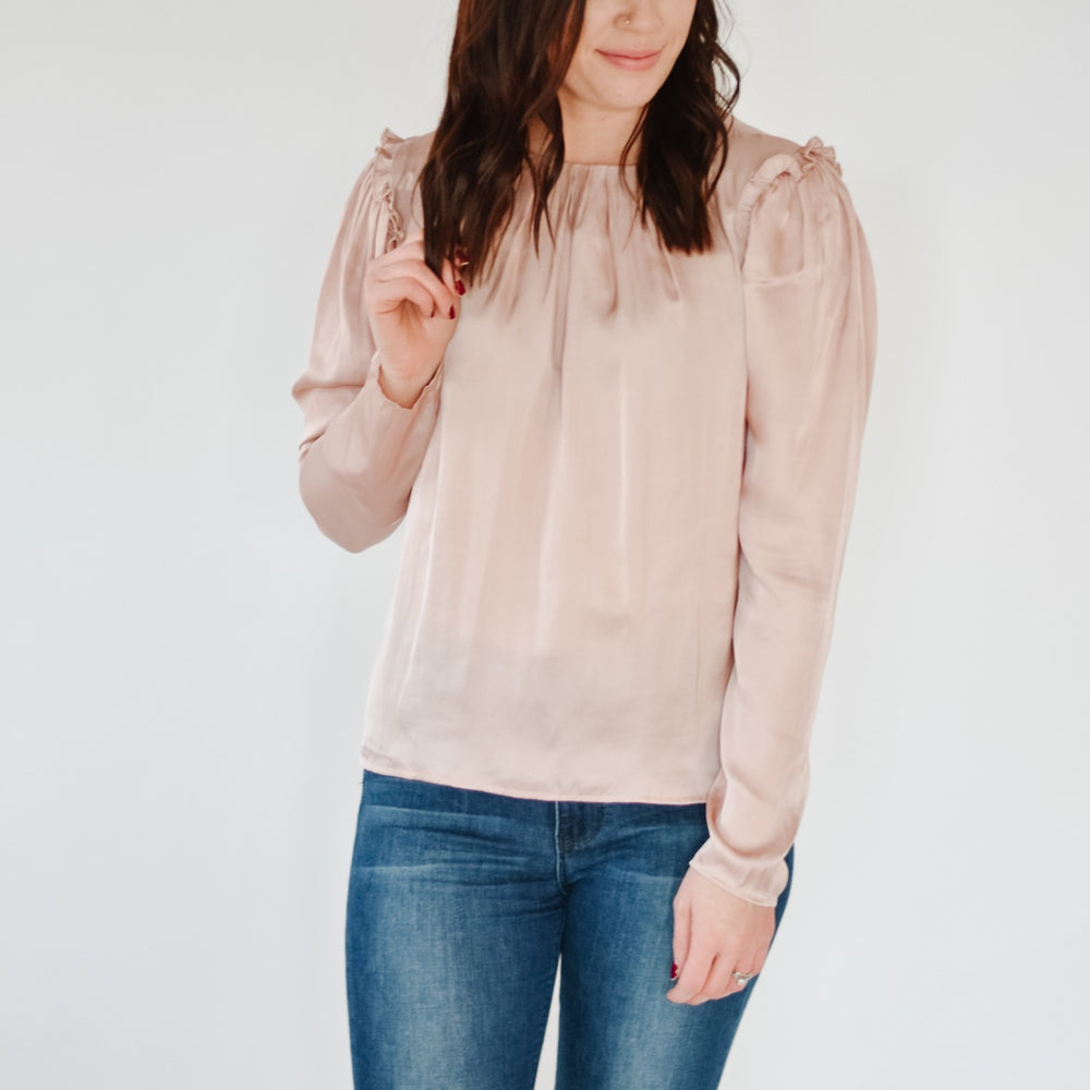 Ruffle Shoulder Blouse -Rose Dust