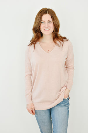 V-Neck Dreamers- Heathered Blush