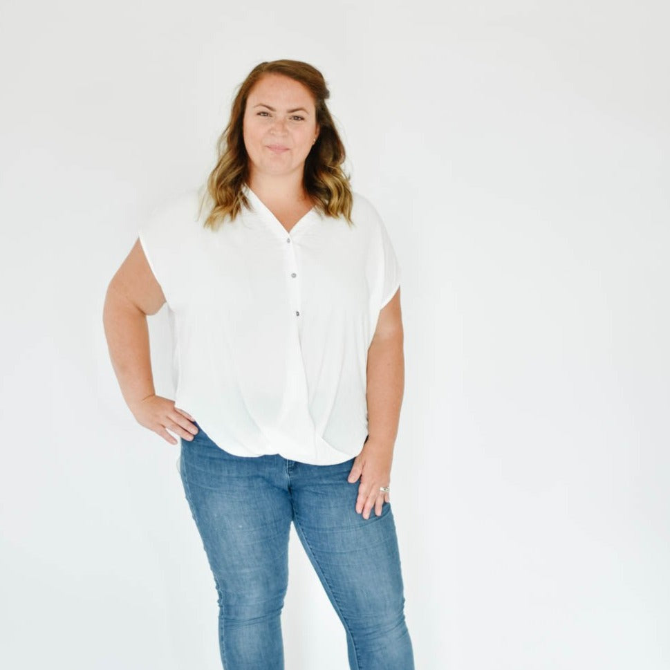 Curve-Button Down Tee Blouse (White)