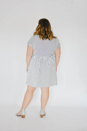 Curve-Striped Tee Dress (White)