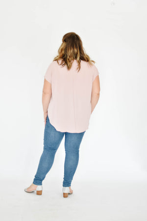Curve-Button Down Tee Blouse (Blush)