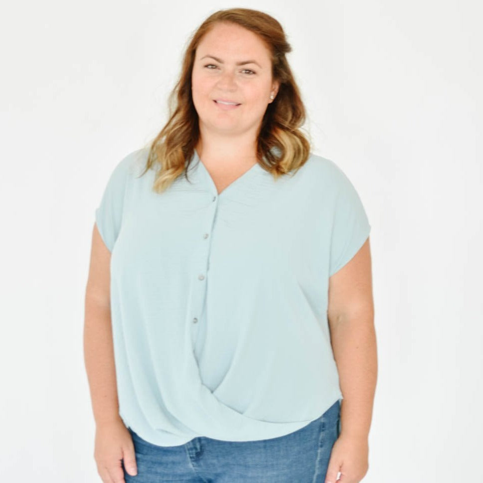 Curve-Button Down Tee Blouse (Sage)