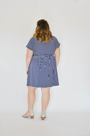 Curve-Striped Tee Dress (Navy)