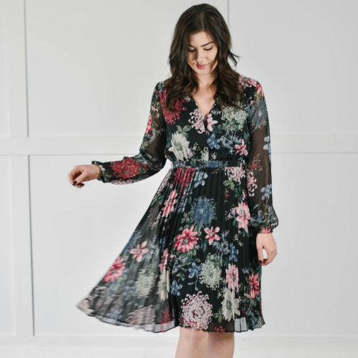 Moody Blooms Pleated Dress