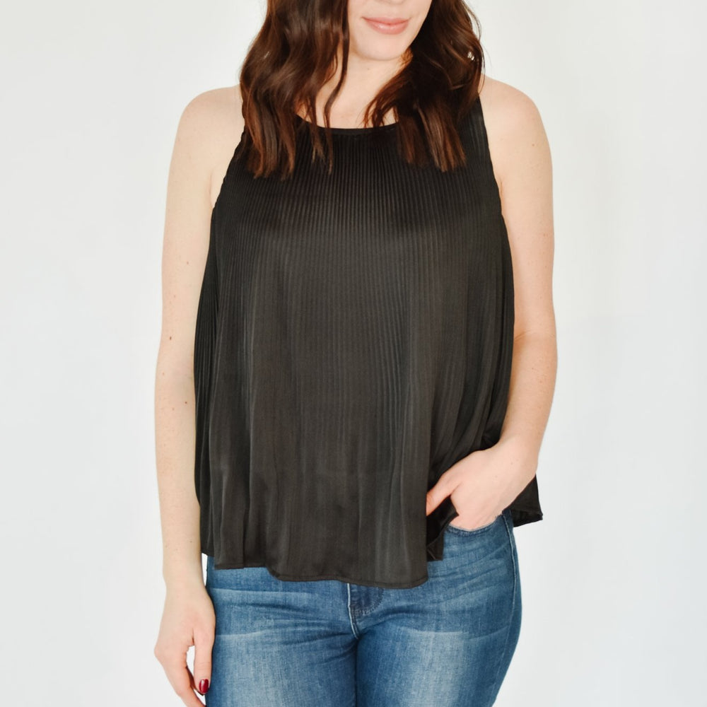 Pleated Swing Tank-Black
