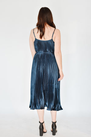 Navy Pleated Dress