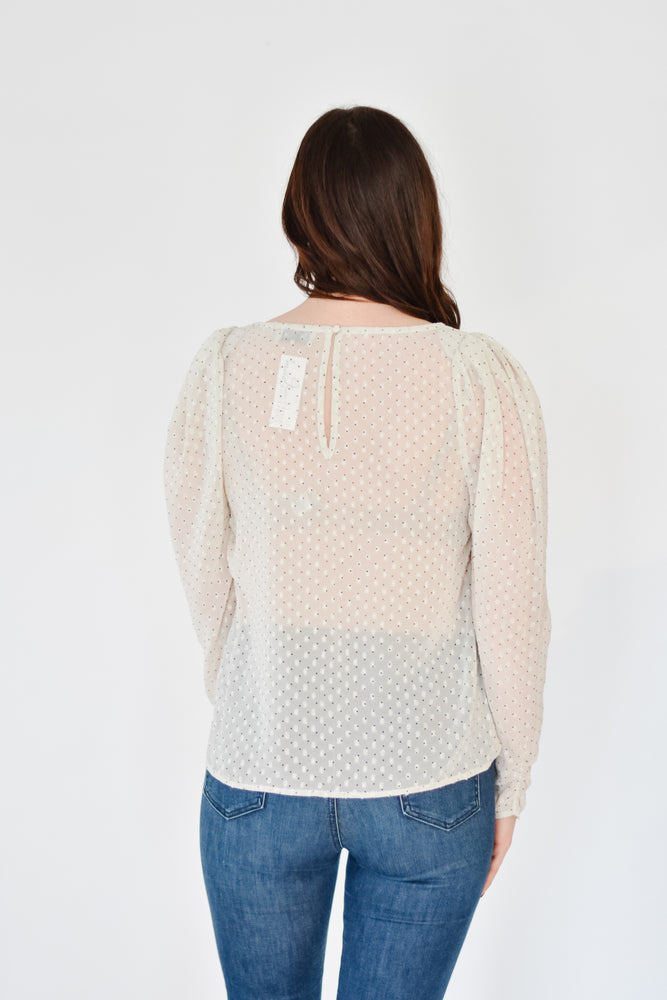 Swiss Dot Puff Blouse