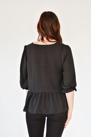 Peplum Blouse - Black