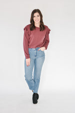Ruffle Trim Sweatshirt-Burgundy