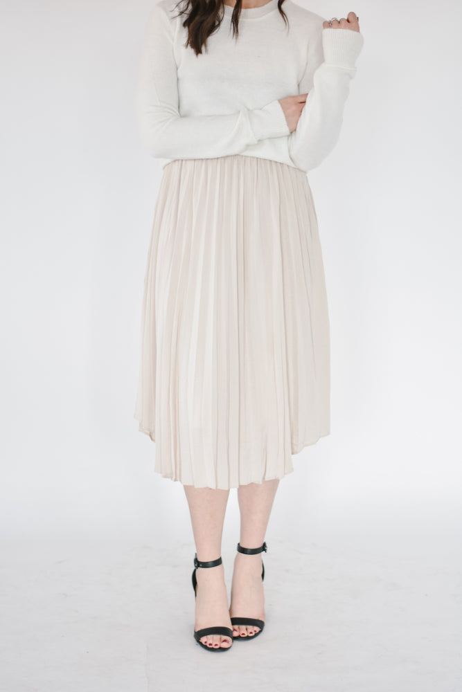 Champagne Pleated Skirt