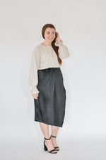 Satin Wrap Skirt-Black
