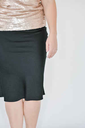 Satin Slip Skirt-Black