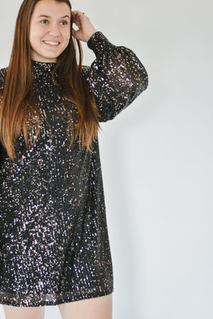 Gold Sequin Puff Sleeve Dress