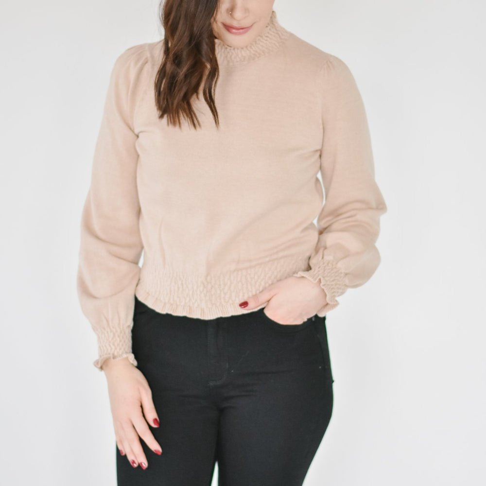 Smocked Taupe Turtleneck