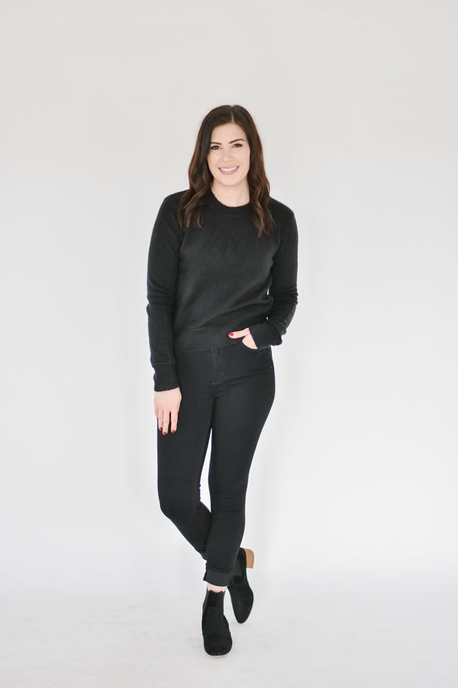 Ribbed Hem Sweater -Black