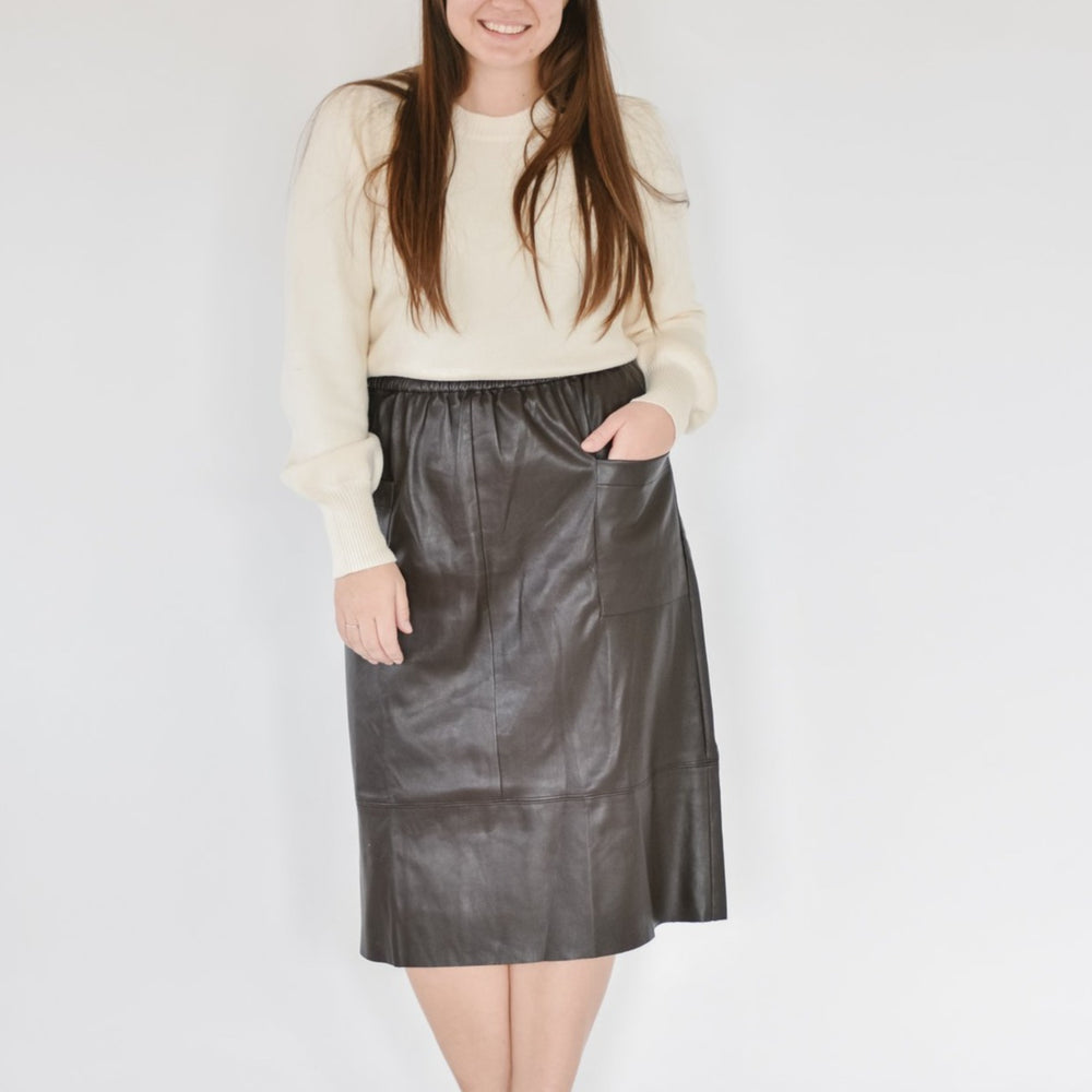 Leather Midi Skirt-Brownie