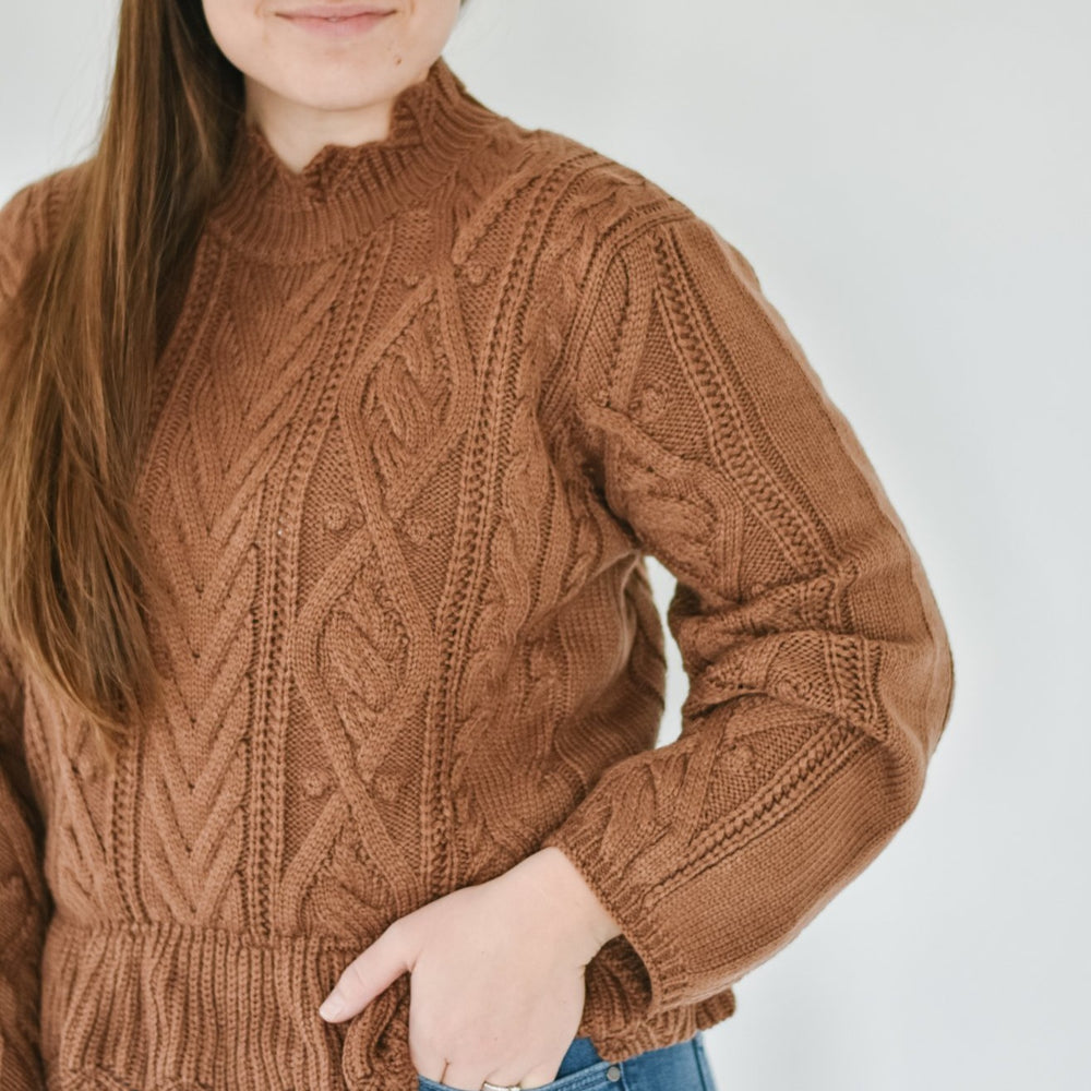 Cableknit Peplum Sweater - Gingerbread