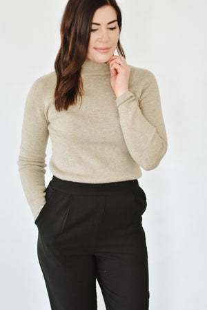 Taupe Ribbed Fitted Sweater