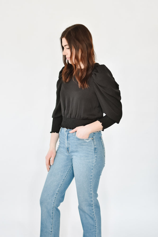 Smocked Cropped Blouse-Black