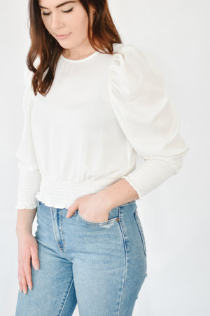 Smocked Cropped Blouse-White