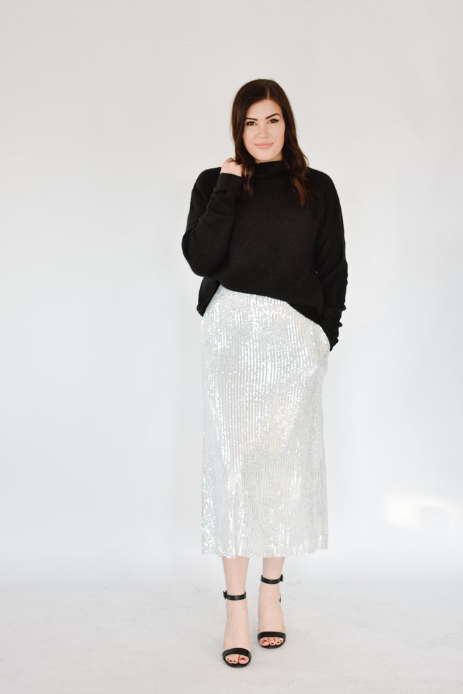Sequin Midi Skirt-Silver
