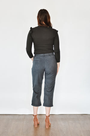 Navy Suede Cropped Trouser