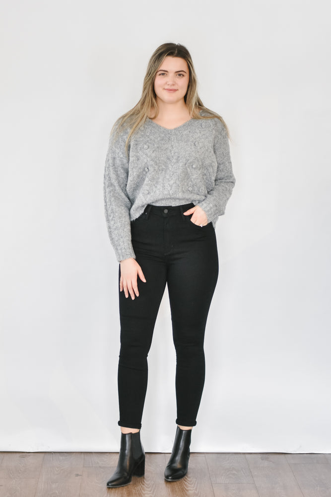 Cropped Pom Knit-Grey