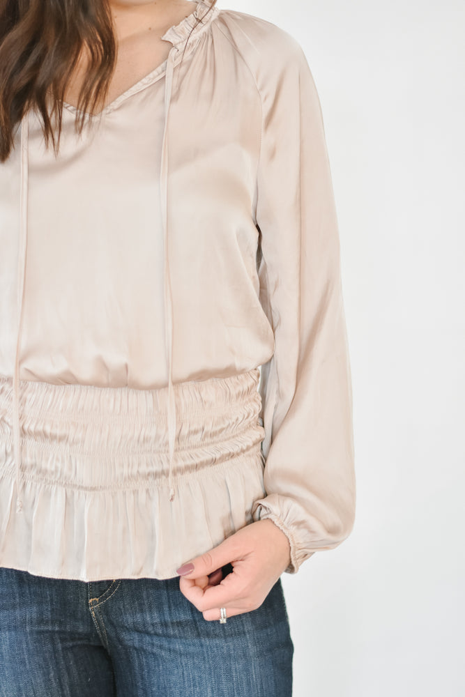 Satin Smocked Waist Blouse- Champagne