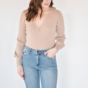Ribbed Wrap Sweater-Frappe