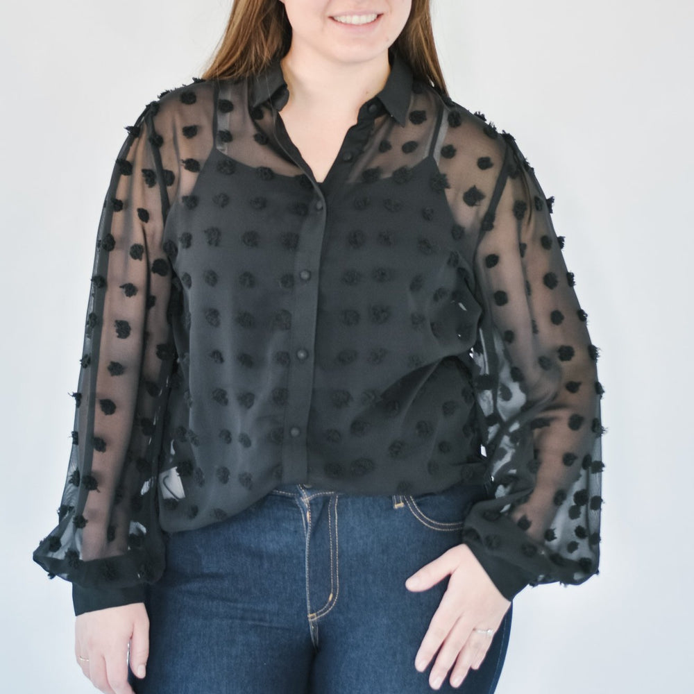 Black Fluff Blouse