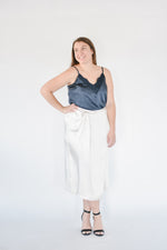 Satin Wrap Skirt-Cream