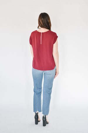 Cranberry Twist Front Tee