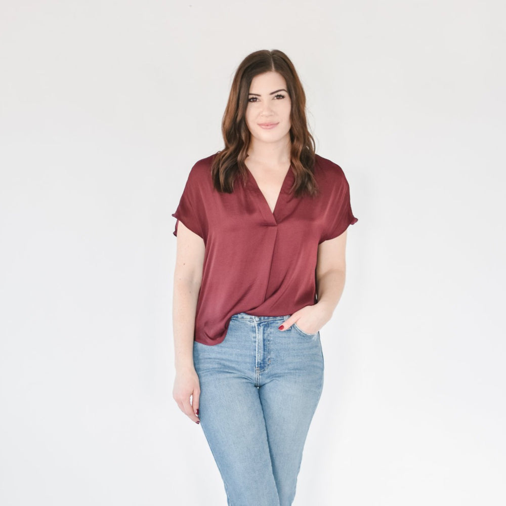 Wine Satin Tee Blouse