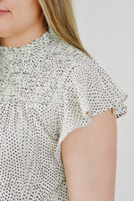 Smocked Collar Polka Dot Top