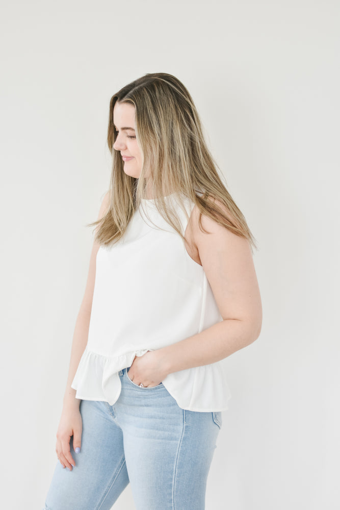 The Kayla Peplum Blouse-White