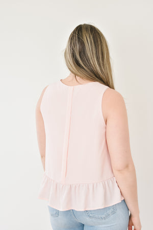 The Kayla Peplum Blouse-Pink