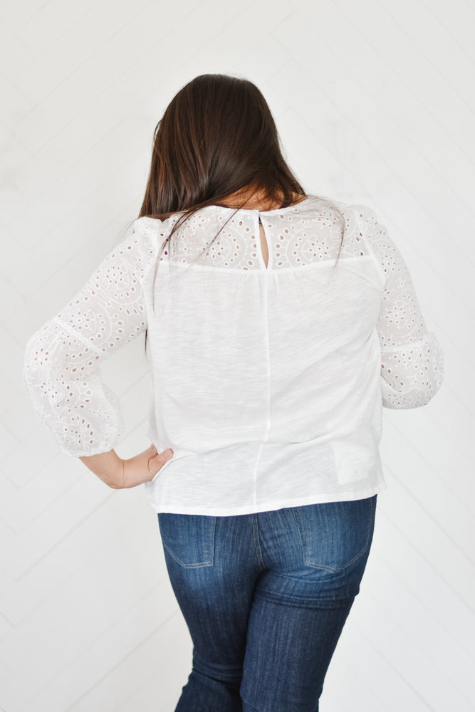 White Crochet Sleeve Blouse