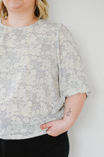 French Blue Sketch Floral Blouse |S-3XL|