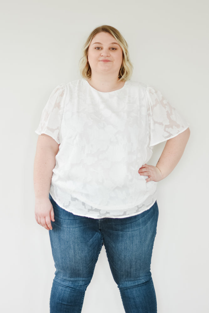 White Embossed Flutter Blouse |XL-2X|