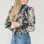Moody Floral Smocked Blouse