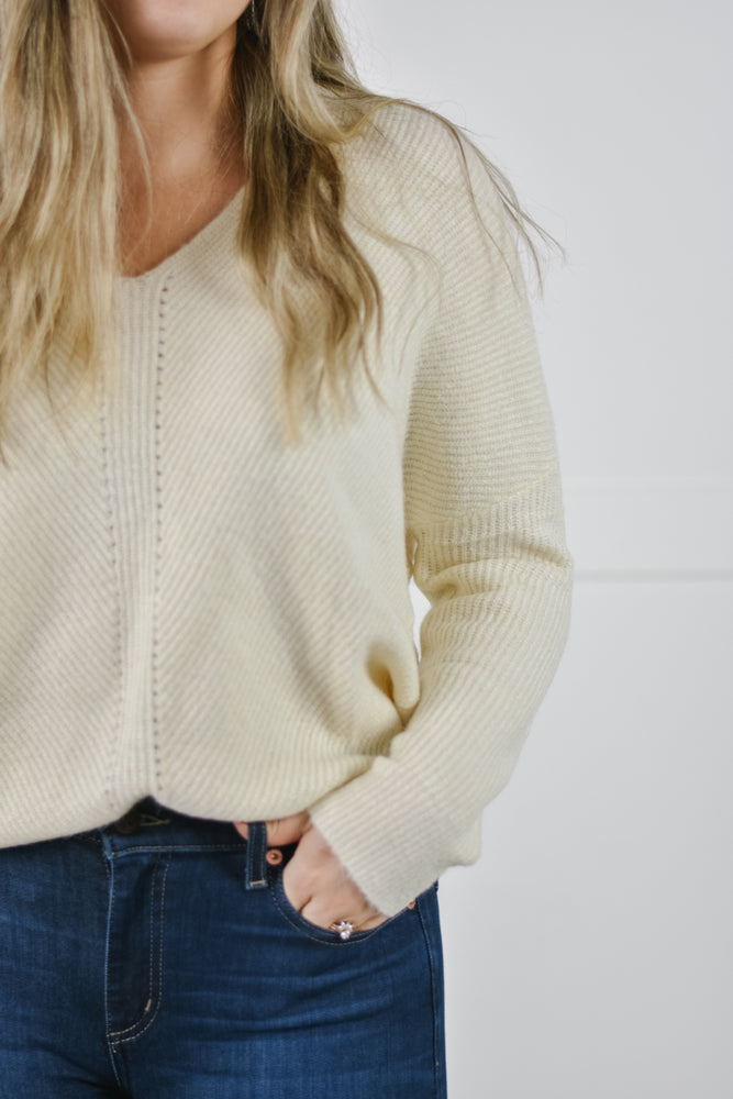 Slouchy Knit Sweater (Ivory)