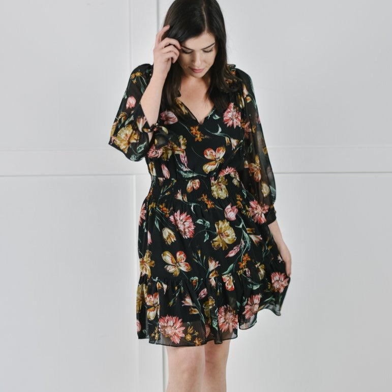 Autumn Floral Mini Dress
