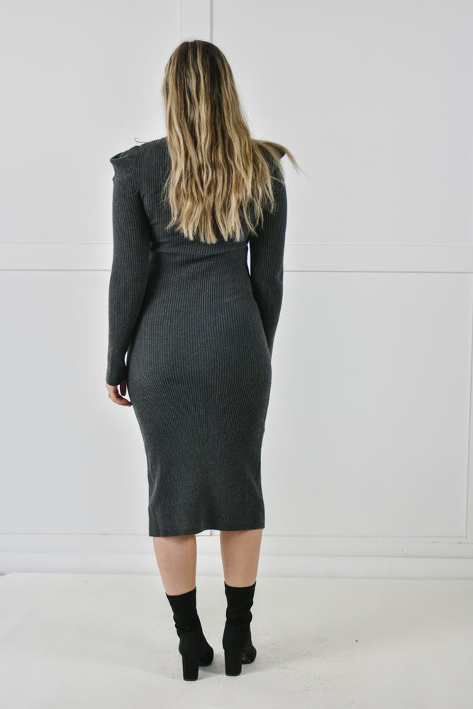 Coal Puff Sweater Dress