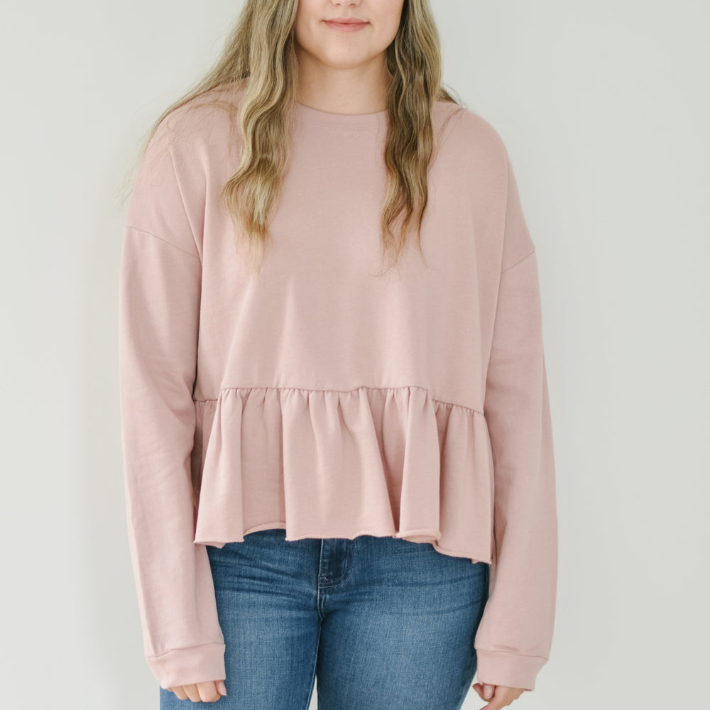 Peplum Sweatshirt (Rose)