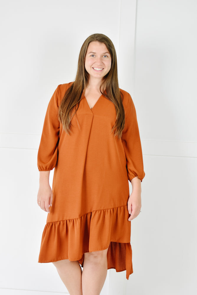 Ruffle Midi Dress (Rust)