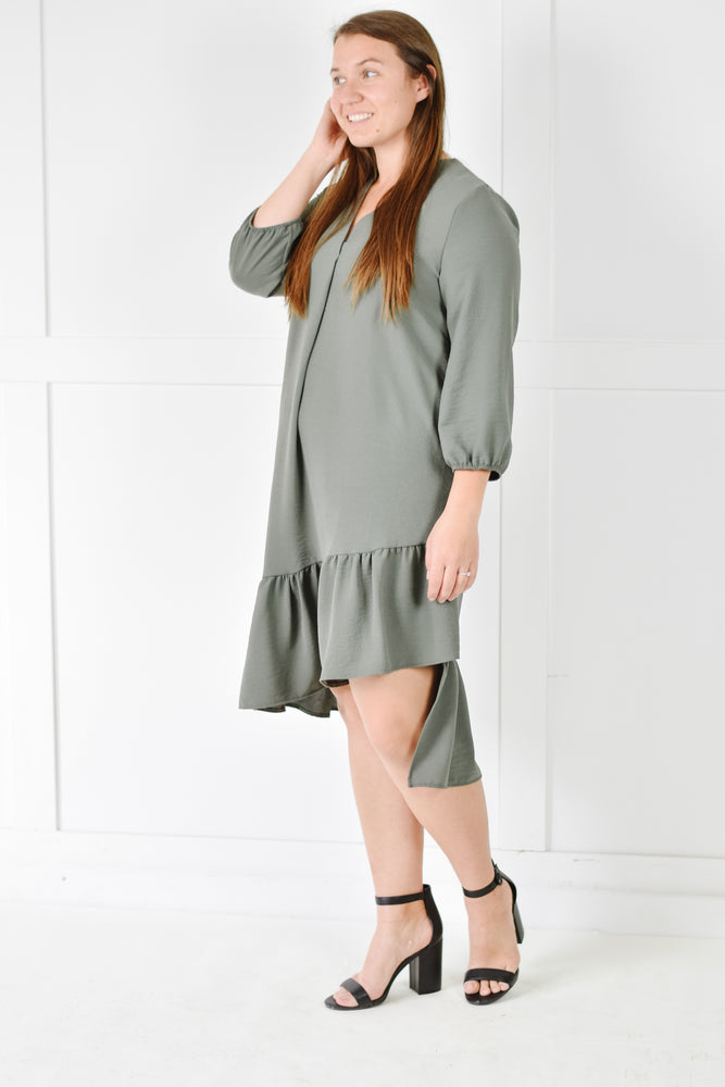 Ruffle Midi Dress (Olive)