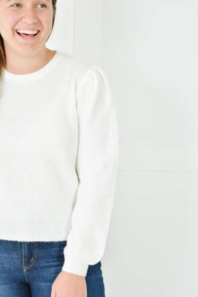 Ivory Puff Sleeve Crop