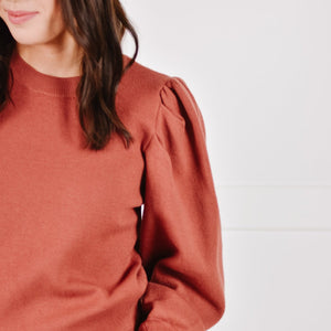 Brick Balloon Sleeve Knit