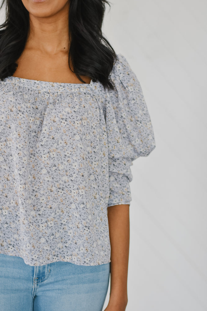 Square Neck Floral Puff Blouse-Lilac